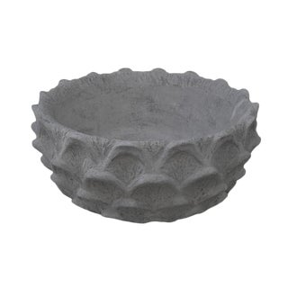 Scalloped Low Bowl in Natural Concrete For Sale