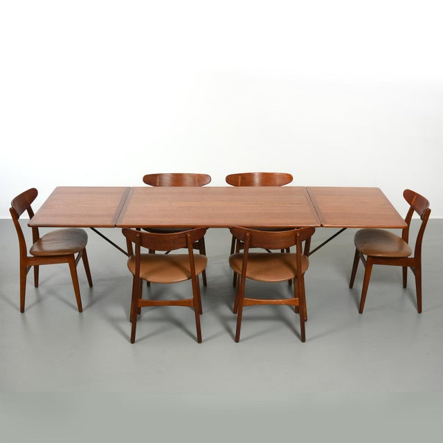 Andreas Tuck Hans Wegner Dining Set, Model At-304 Dining Table and Model Ch-30 Dining Chairs For Sale - Image 4 of 10