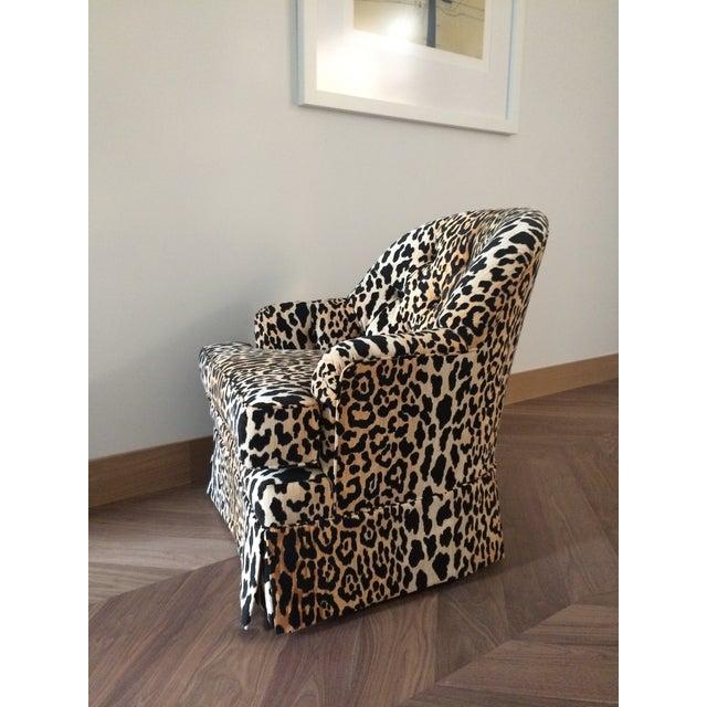 Tufted Leopard Print Velvet Club Chair - Image 7 of 9