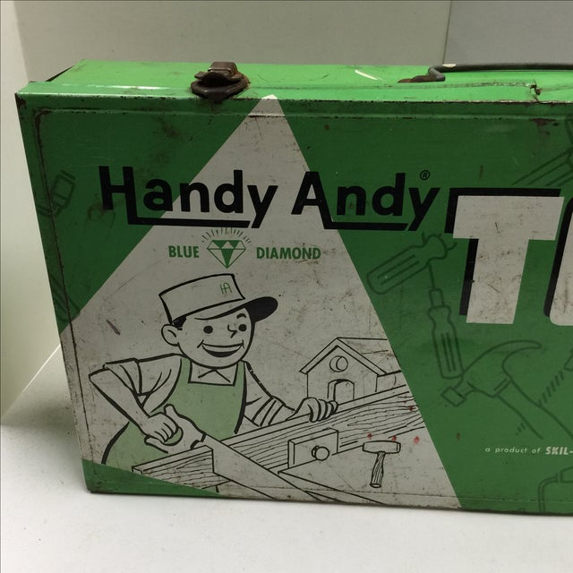 Vintage Handy Andy Green Tool Set Box - Image 3 of 8