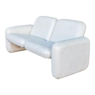 Ray Wilkes for Herman Miller White Vinyl Chiclet Sofa For Sale