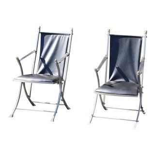 Pair Maison Jansen Mid-Century Modern Campaign Folding Chairs For Sale