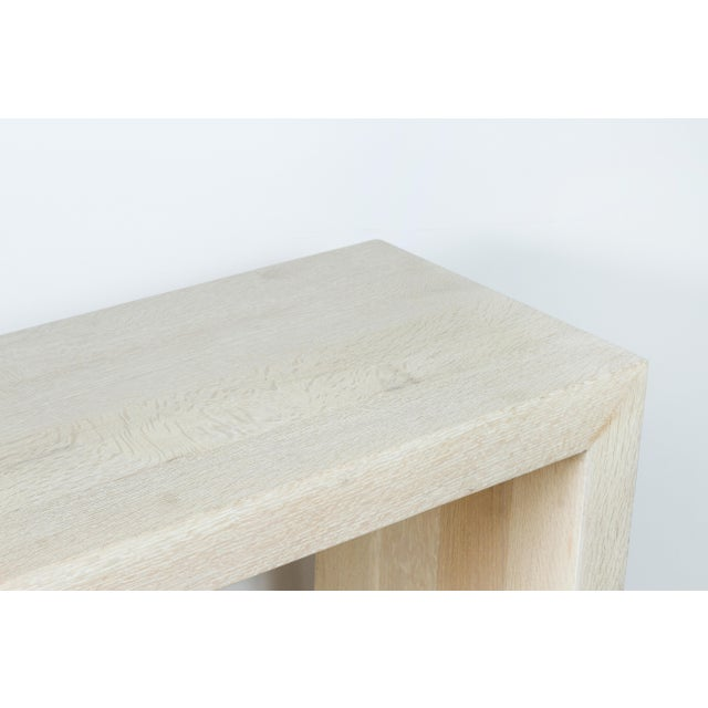 Off-white Paul Marra Marble and Bleached Oak Console For Sale - Image 8 of 11