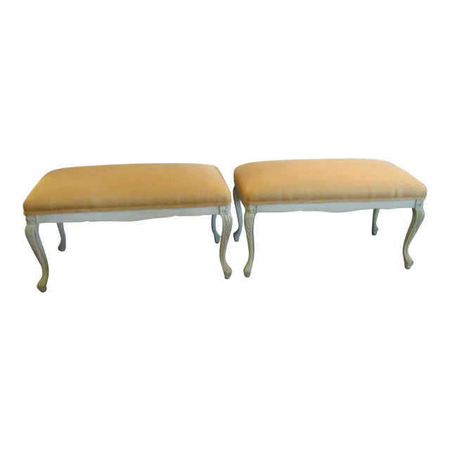 White Carved Wood Benches - A Pair - Image 1 of 6
