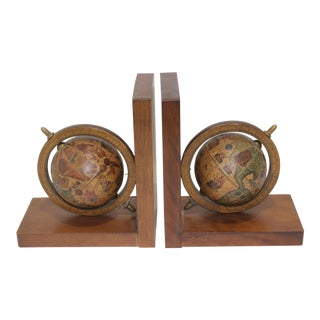 Vintage Bookends With Turning Earth Globes in Antique Mapping Motif - the Pair For Sale