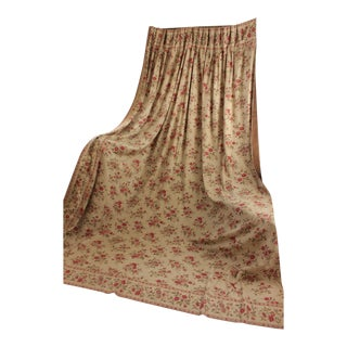 Antique French 19th Century Victorian Era Floral Backed Curtain Drape C. 1880 For Sale