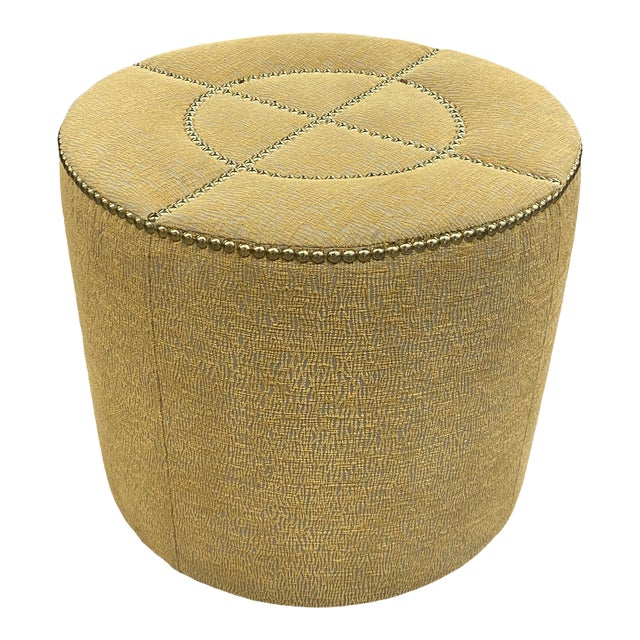 Upholstered Nailhead Trim Footstool Ottoman Pouf Beautiful Fabric For Sale