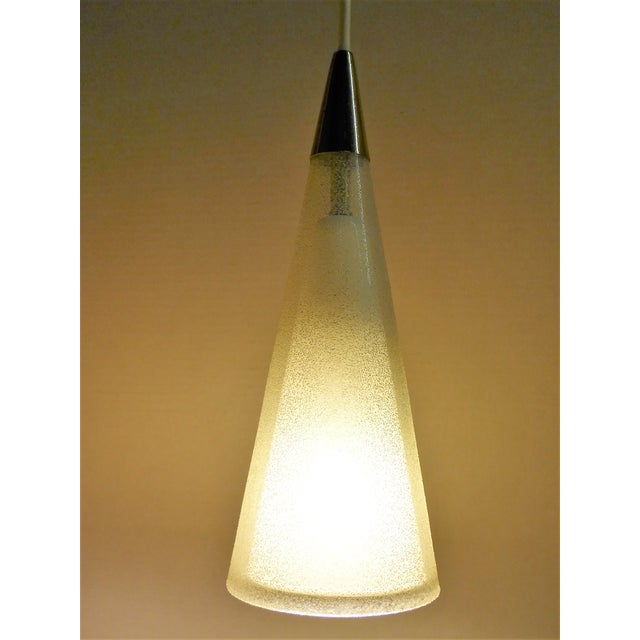 1950s Italian Double Cone Glass and Brass Pendants - a Pair For Sale In Miami - Image 6 of 10