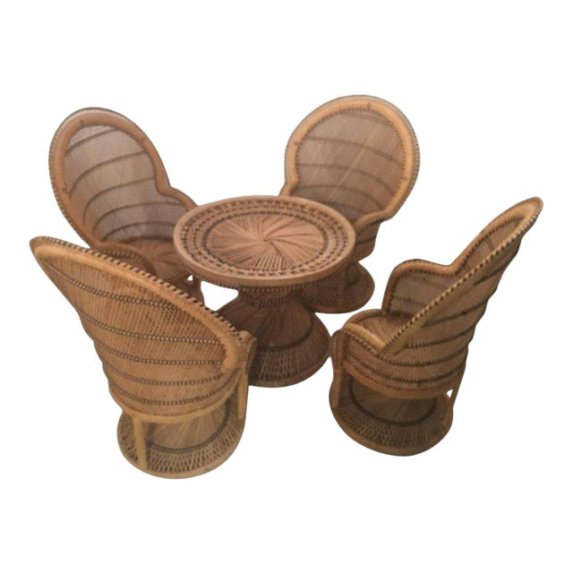 Rattan Wicker Peacock Children's Dining Table Chairs Set For Sale