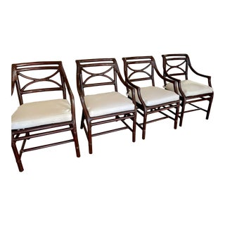 McGuire Furniture Company San Francisco Bamboo Dining Arm Chairs - a Set of 4 For Sale