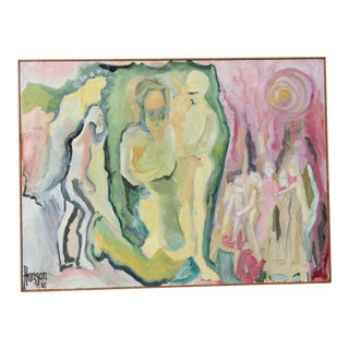"1960's ""Love Energy"" Abstract Figures Oil Painting For Sale"