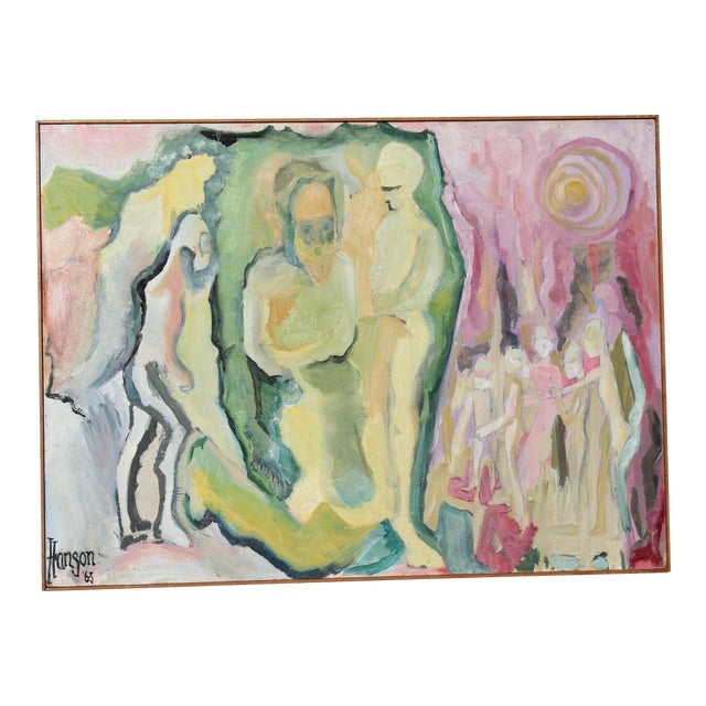 """1960's """"Love Energy"""" Abstract Figures Oil Painting For Sale"""