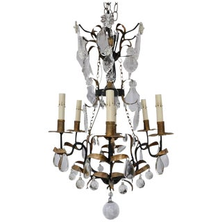 Antique French Crystal and Iron Chandelier For Sale