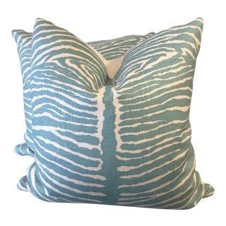 "Brunschwig &Fils ""Le Zebre"" in Aqua 22"" Pillows-A Pair For Sale"
