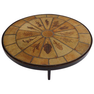 """Pressed Leaves"" Ceramic Tile Studio Coffee Table"