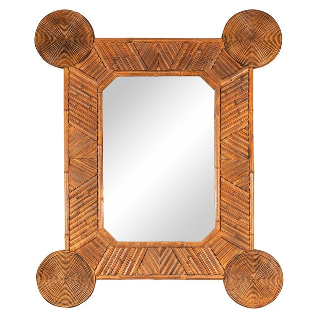 1960s Unusual Mirror With Intricate Bamboo Surround For Sale - Image 5 of 5