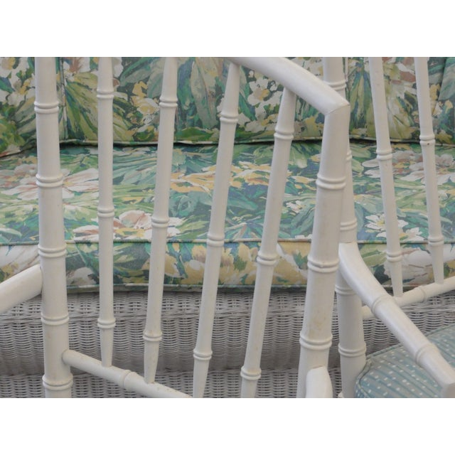 Palm Beach Faux Bamboo Arm Chairs - a Pair For Sale In West Palm - Image 6 of 10