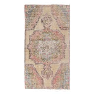 1960s Vintage Decorative Turkish Rug - 3′4″ × 6′7″ For Sale
