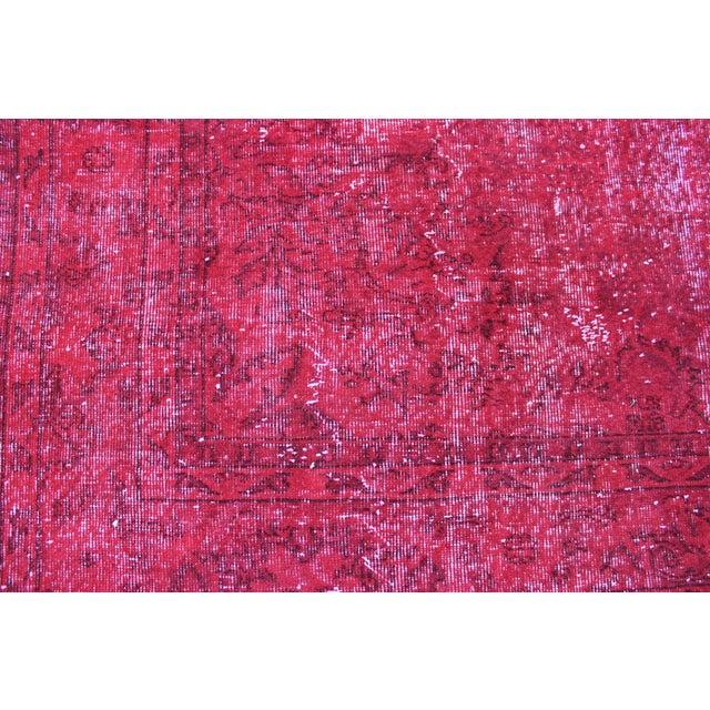 Red Overdyed Vintage Turkish Rug - 7′ × 10′10″ - Image 7 of 8
