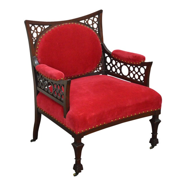 Antique 19th Century Aesthetic Mahogany Arm Chair (possibly Herter Brothers) - Image 1 of 11