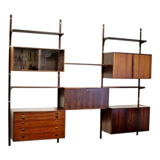 Mid Century Modern Rosewood Shelving Wall Unit 5 Drawer 7 Shelf Cadovius Attr.