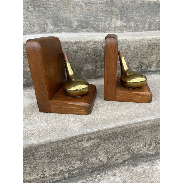 Mid-Century Modern Brass & Walnut Golf Club Bookends For Sale - Image 3 of 11