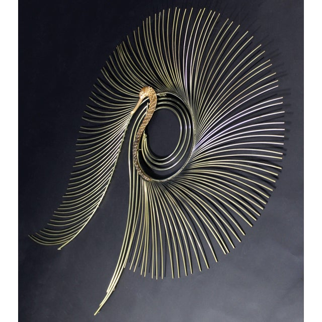For your consideration is a fabulous, large, brass hanging wall sculpture of a peacock, signed Curtis Jere. In excellent...