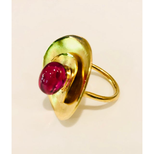 Red Baccarat Cabochon Ruby Crystal and Gold Vermeil Ring size 7 For Sale - Image 8 of 8