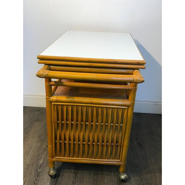 Midcentury Rattan Expandable Bar Cart For Sale In Philadelphia - Image 6 of 13