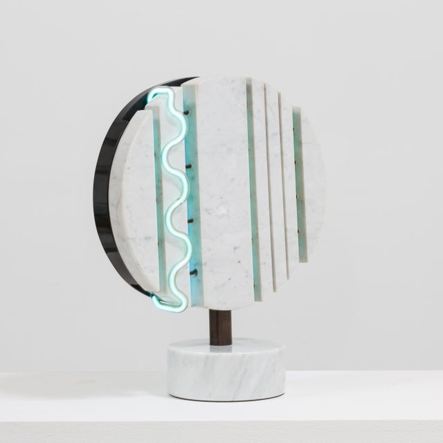 A Marble and Neon Light Sculpture by Sylvia Jaffe 1970s - Image 4 of 5