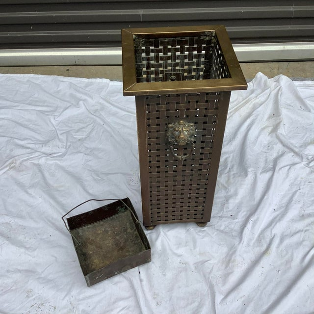Italian Woven Brass Umbrella Stand For Sale - Image 4 of 9