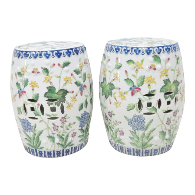 Chinese Floral Garden Stools - A Pair For Sale