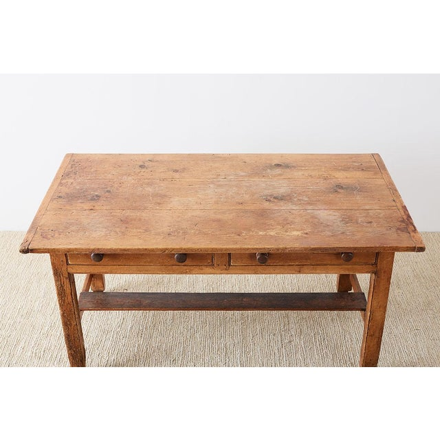 Rustic Rustic English Pine Library Table or Farm Table For Sale - Image 3 of 13