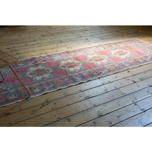 "Vintage Distressed Oushak Rug Runner - 3' X 9'8"" For Sale - Image 9 of 12"