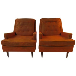 Pair of 1950s Upholstered Lounge Chairs For Sale