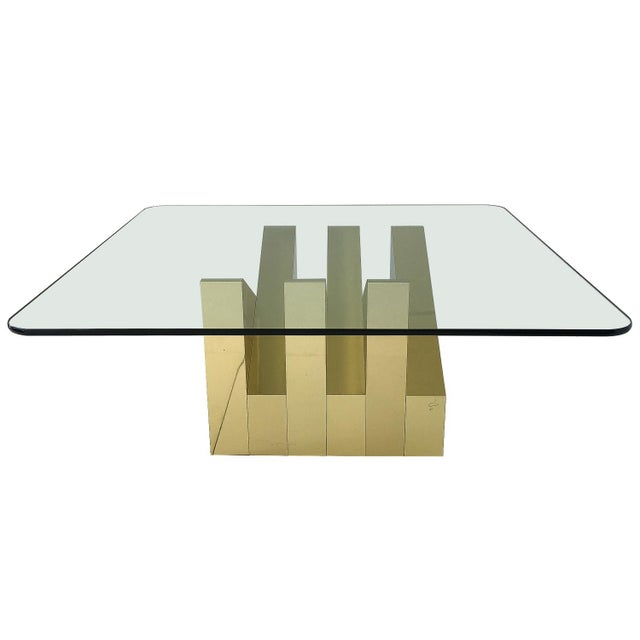 Abstract Modern Sculptural Brass Clad Coffee Table For Sale - Image 3 of 13