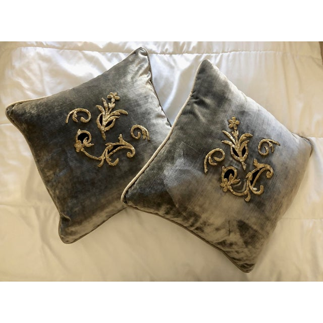 Grey Velvet Pillows Re-Designed With Antique Silver Wire Embroidery- a Pair For Sale In West Palm - Image 6 of 13