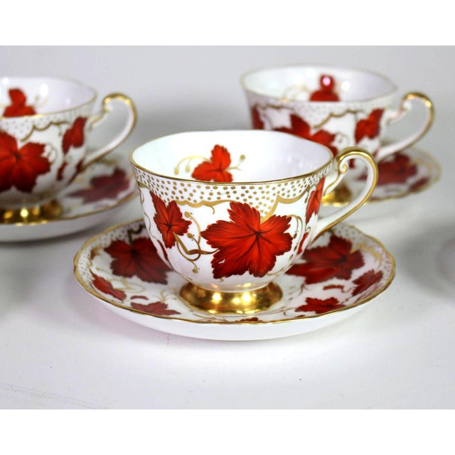 English 1950's Royal Chelsea English Fine Bone Porcelain China Maple Leaf Tea Cups & Saucers - Set of 5 For Sale - Image 3 of 8
