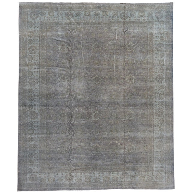 Contemporary Grey Overdyed Wool Room-Size Rug For Sale