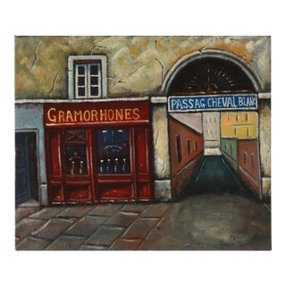Vintage Painting of Paris, France, Storefronts and the Passage Du Cheval Blanc For Sale