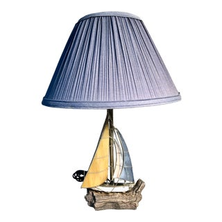 Stained Leaded Glass Sailboat Lamp on Stone Base and Shade For Sale