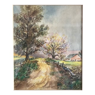 Vintage Mid-Century Rural House and Trees Original Watercolor Painting For Sale