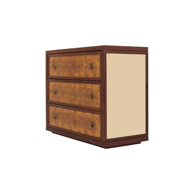Italian Glam Sideboard in Rattan, Teak and Brass, 1970s For Sale - Image 6 of 8
