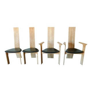 1970s Bob & Dries Van Den Berghe Natural 'Iris' High Back Dining Chairs - Set of 4 For Sale