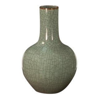 Sarried Ltd Celadon With Brown Lip Globular Vase For Sale