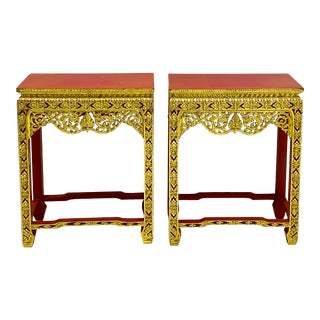 Mid-Century Asian Carved Giltwood Side or Console Tables - Pair