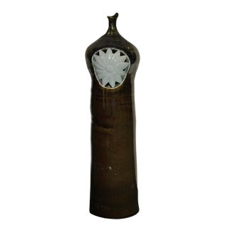 Modern Handmade Artistic Bottle Shape Brown Gloss Grace Vase With Sun Flower Graphic For Sale