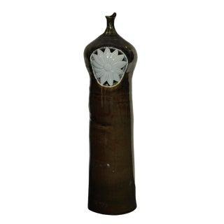 Modern Handmade Artistic Bottle Shape Brown Gloss Grace Vase With Sun Flower Graphic For Sale