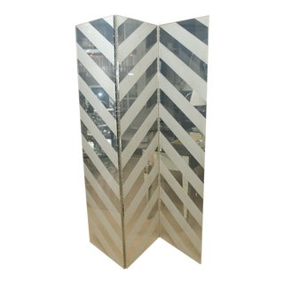 Mid-Century Lucite Chevron 3-Panel Screen For Sale