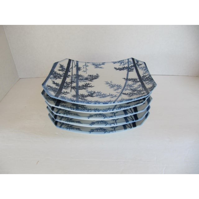 Set of 5 blue and white sushi plates with bamboo motif. Could be used to serve many foods not just sushi.